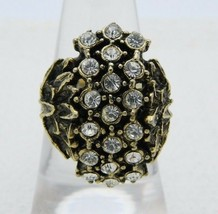 VTG Gold Tone Clear Glass Rhinestone Flower Ring Size 7.5 Embossed Band - $29.70