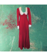 1960s vintage red peter pan collar dollybird maxi dress size 0 2 extra s... - $99.99
