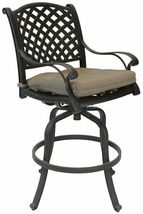 Patio bar stools Set of 4 Outdoor Furniture Nassau Swivel Cast Aluminum Bronze image 5