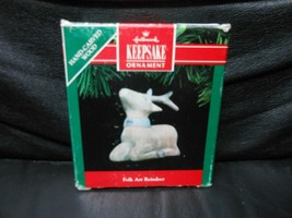 "Hallmark Keepsake ""Folk Art Reindeer"" 1991 Wood Ornament NEW - $3.47"
