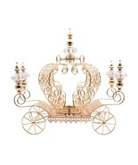 Crystal Studded Pumpkin Carriage Large Candle Holder Centerpiece 21in, Gold - $184.09