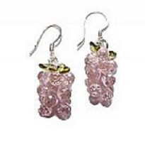 "Earrings Pink Grape Cubic Zirconia finely strung hand 1 1/4 "" long Sterling Hook - $17.10"