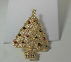 Gold Tone Christmas Tree Pin Brooch - $10.88