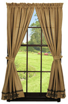 Olivia's Heartland country primitive rustic Tan Burlap Star Panel curtains 72x63 - $79.95