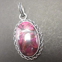 925 Silver Plated Pink Agate Pandent 5.4 cm  Gifts For Nephew !! - $6.58