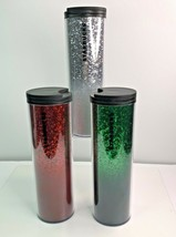 Starbucks 2019 Holiday Hot Or Cold Cup 16oz Tumbler Red Green White Glit... - $91.62