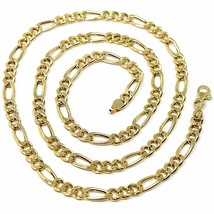 18K YELLOW GOLD CHAIN BIG 5 MM ROUNDED FIGARO GOURMETTE ALTERNATE 3+1, 24 INCHES image 1