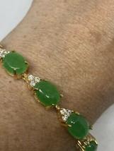 Vintage Green Jade Golden Bracelet 7.75 Inches - $64.35