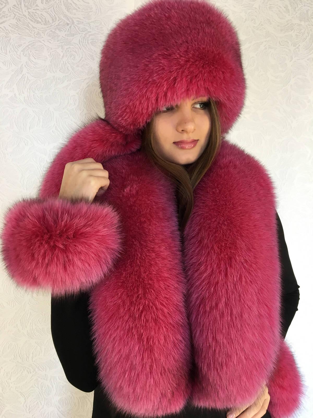 website for discount a few days away cozy fresh Fox Fur Collar 50' & Full Fur Hat Raspberry Pink Fur Set Three Fur ...