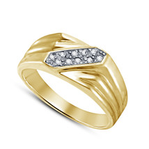 Mens Diamond Wedding Engagement Ring 14k Yellow Gold Finish 925 Sterlin... - $92.99