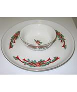 Tienshan Fairfield Poinsettia & Ribbons Fine China Christmas Chip & Dip Set - $28.99