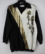 Vintage Stacey Michaels women's black blouse white gold accents top size L - $9.32