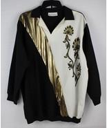 Vintage Stacey Michaels women's black blouse white gold accents top size L - $9.32