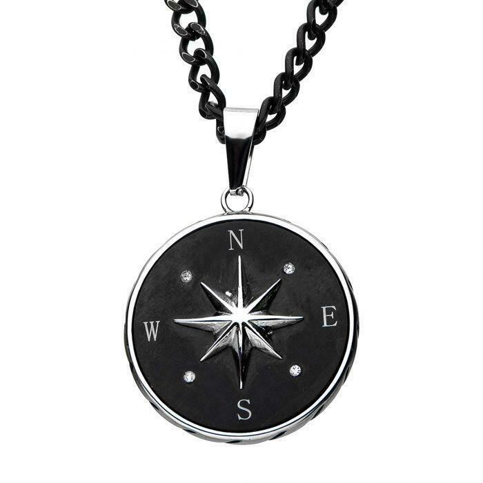 Stainless Steel Black Enamel Cross /& Dog Tag w//CZ Necklace; 24 inch