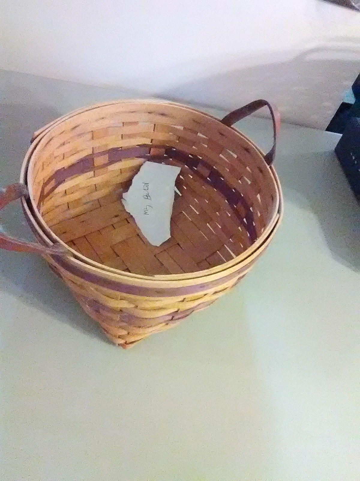 Longaberger May Basket - 1997 - Leather Strap Handles
