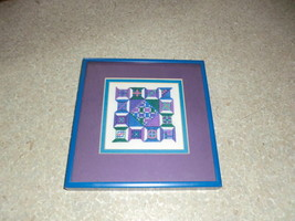 Blue framed needlepoint piece - £15.37 GBP