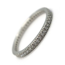 18K WHITE GOLD THIN ETERNITY BAND RING, WHITE CUBIC ZIRCONIA, THICKNESS 2 MM image 1