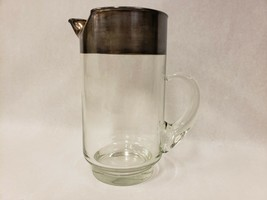 """Vintage  Mid Century Dorothy Thorpe Silver Band Silver Rim Tall 9"""" Pitcher - $51.47"""