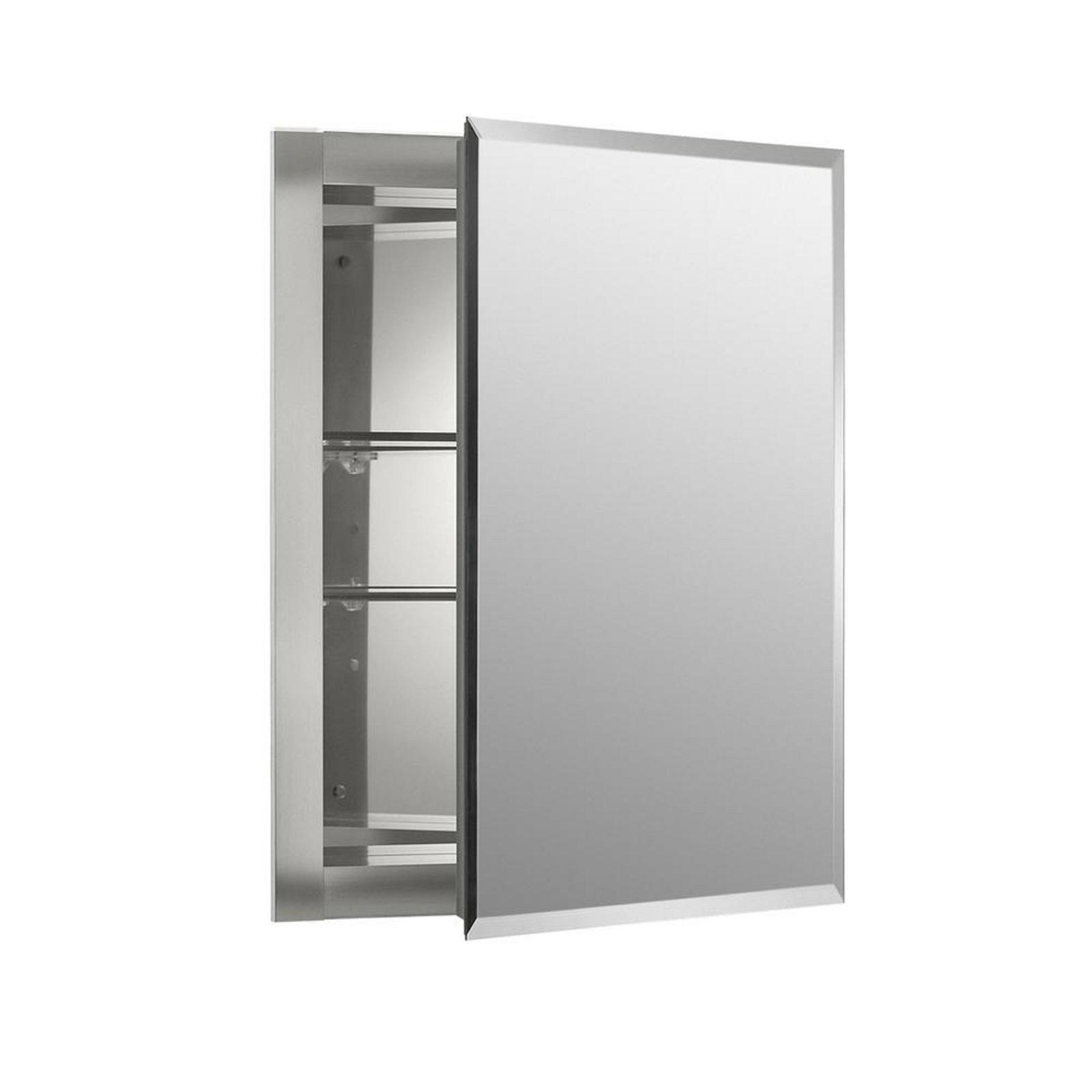 Medicine Storage Cabinet 16 in x 20 in x 5 in Aluminum Recessed Mirrored Unique