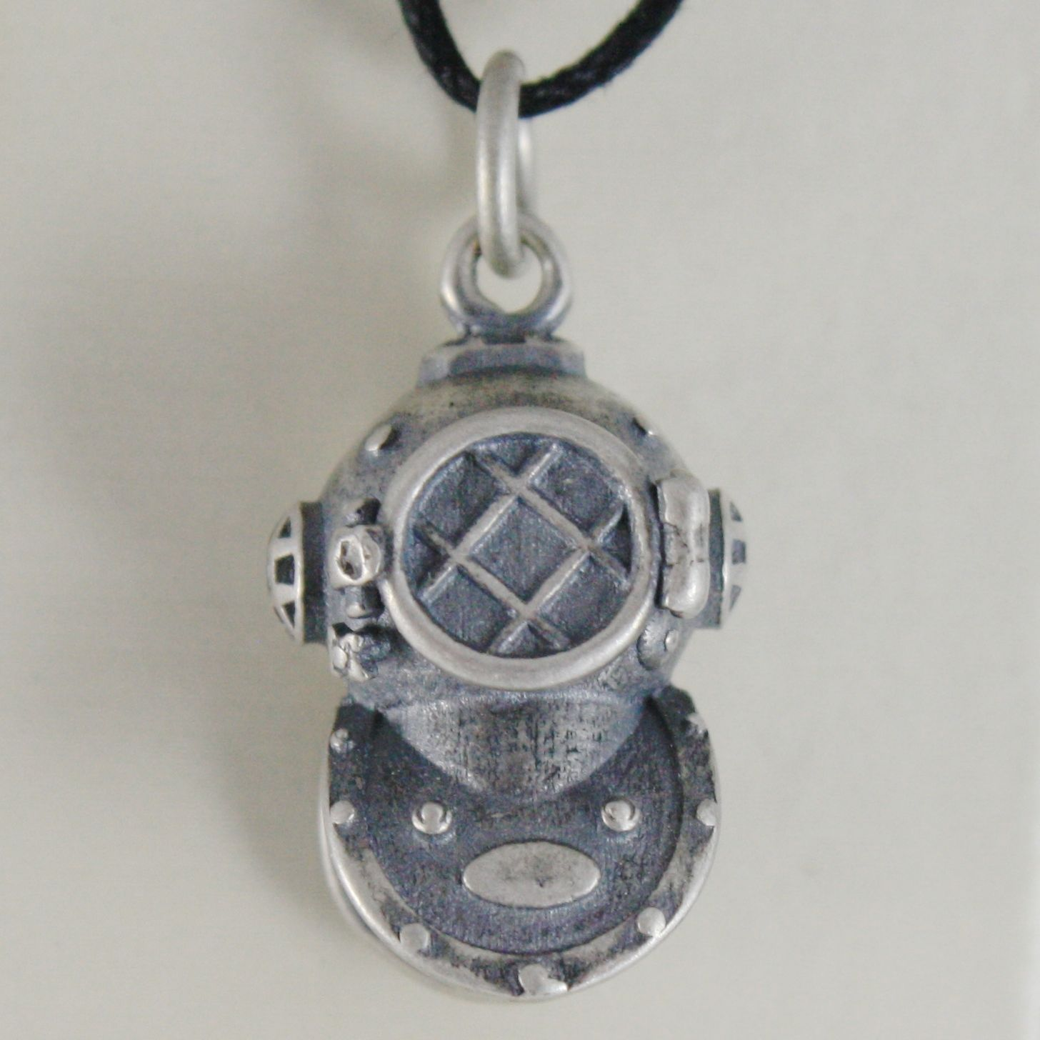 SOLID 925 STERLING SILVER DIVER PENDANT FINELY BURNISHED AND SATIN MADE IN ITALY