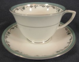 Royal Worcester Sea Rose Cup & Saucer England Bone China Green Band and Flowers  - $24.95