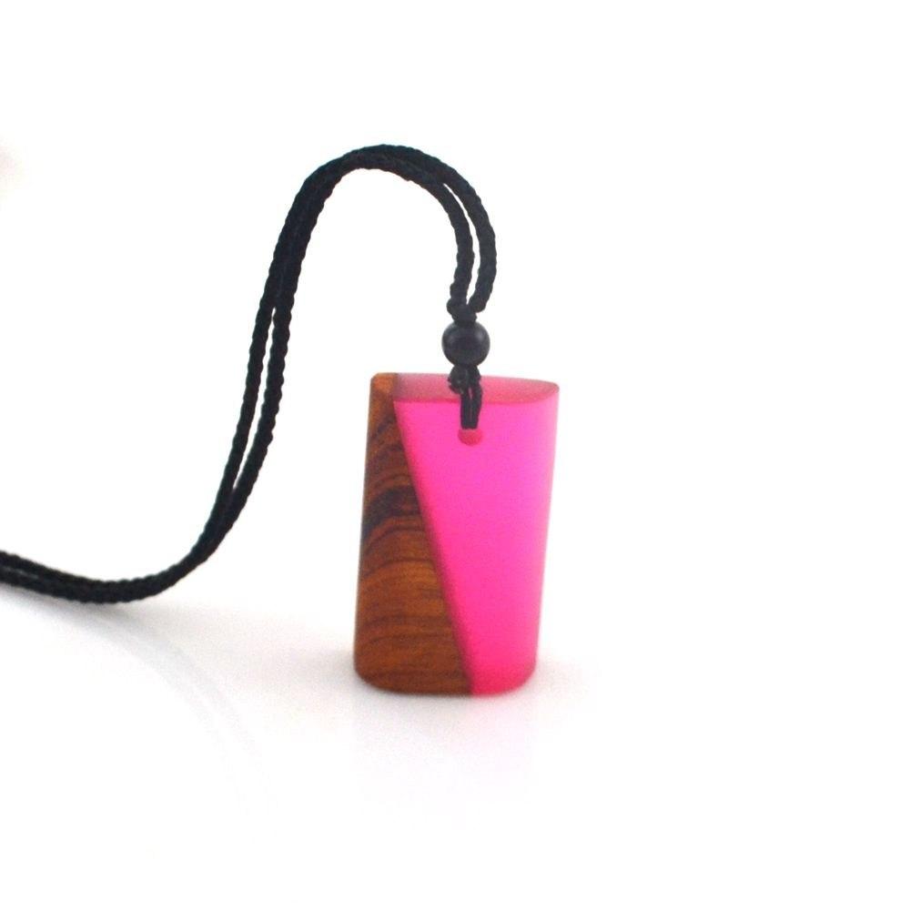 Pink Hand grinding Handmade Wood Resin Pendant Fashion Pendant Necklace