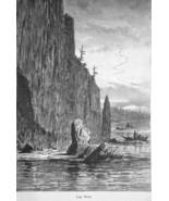 OREGON Cape Horn on Columbia River - 1883 German Print - $16.20
