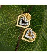 0.50Ct Round-Cut VVS1 Diamond 14K Yellow Gold Finish Double Heart Stud E... - $60.00
