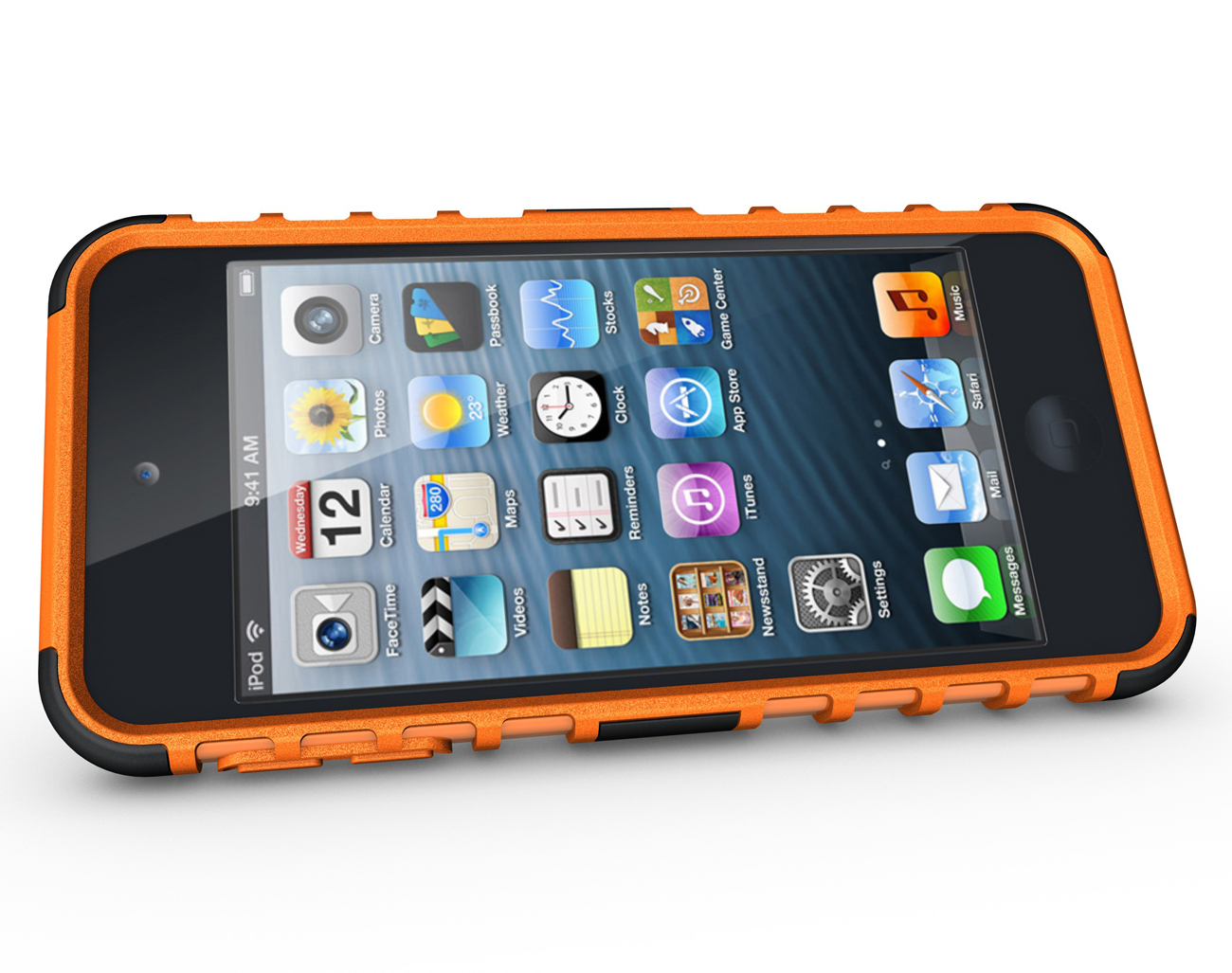 Hard & Soft Rubber Hybrid Case Cover For Apple iPod Touch 6th Gen - Orange