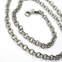 18K WHITE GOLD CHAIN 15.75 IN, ROUND CIRCLE ROLO LINK, DIAMETER 4 MM MADE ITALY image 3