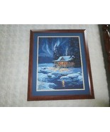 "Wood Framed & Matted MOONLIT CABIN Paint-By-Number PAINTING - 23"" x 27"" - $39.60"