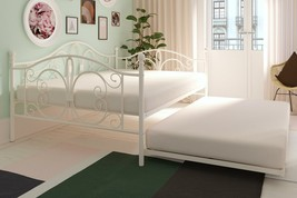 Off White Metal Daybed Frame Full Bed WITH TWIN TRUNDLE Bedroom Furnitur... - $309.77