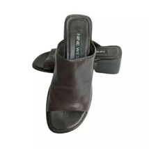Vintage New Nine West Size 6.5 Slide Sandals Chunky Heels Leather Brown ... - $31.36