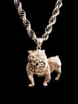 Huge sterling BULLDOG necklace - Vintage silver dog - marine College foo... - $225.00