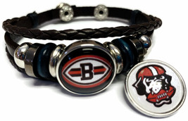 NFL Cleveland Browns Dawg Brown Leather Bracelet W/2 Logo Snap Jewelry C... - $22.95
