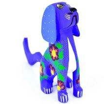 "Handmade Alebrije Oaxacan Copal Wood Carving Folk Art Hound Dog Puppy 5"" Figure image 4"