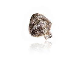 Roberto Cavalli Womens Gold Tone Curved Leaf Swarovski Ring Size 10~RTL$682 - $280.25