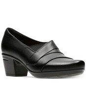 Womens Clarks Emslie Warbler Black Leather Pump [26129224] - $79.99