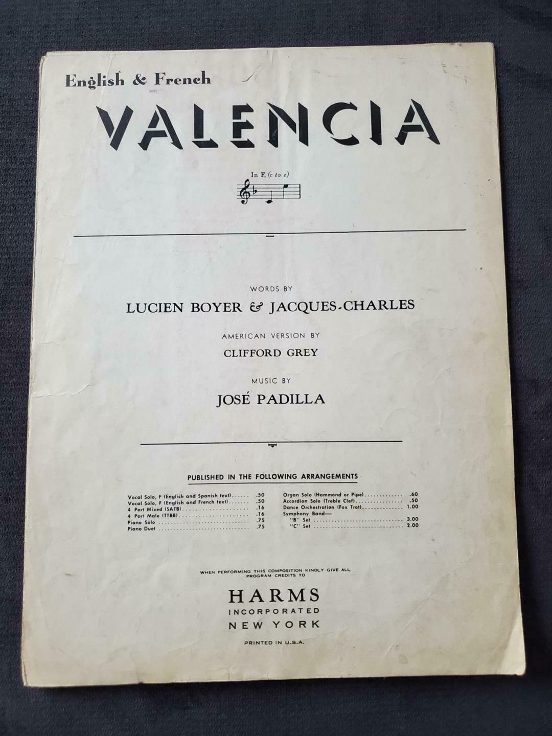 Primary image for VALENCIA ~ 1925 ~ Vintage Sheet Music ~ English & French