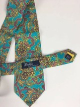 "Polo Ralph Lauren 100% Silk Tie Teal Gold Floral Hand Made Italy 56 x 3.75"" - $27.87"