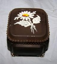 Dark Glass Westmoreland Floral Decorated, Lidded Trinket Box - $13.55