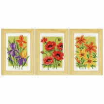 Vervaco Counted Cross Stitch Kit, Miniature, Summer Flowers: Set of 3 - $49.99