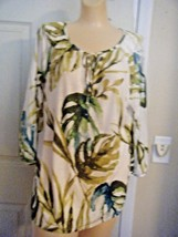 CHICO'S BLUE/TAUPE PRINT 3/4 SLEEVE RAYON TOP SIZE CHICO'S 2 - $18.37