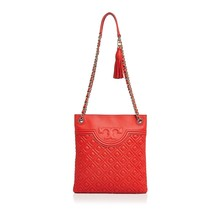 NWT TORY BURCH FLEMING QUILTED LEATHER SWINGPACK CROSSBODY BAG RED VOLCANO - $346.37