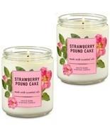 2 Pc Bath & Body Works Strawberry Pound Cake 1 Wick Scented Candles 7 oz - $32.71