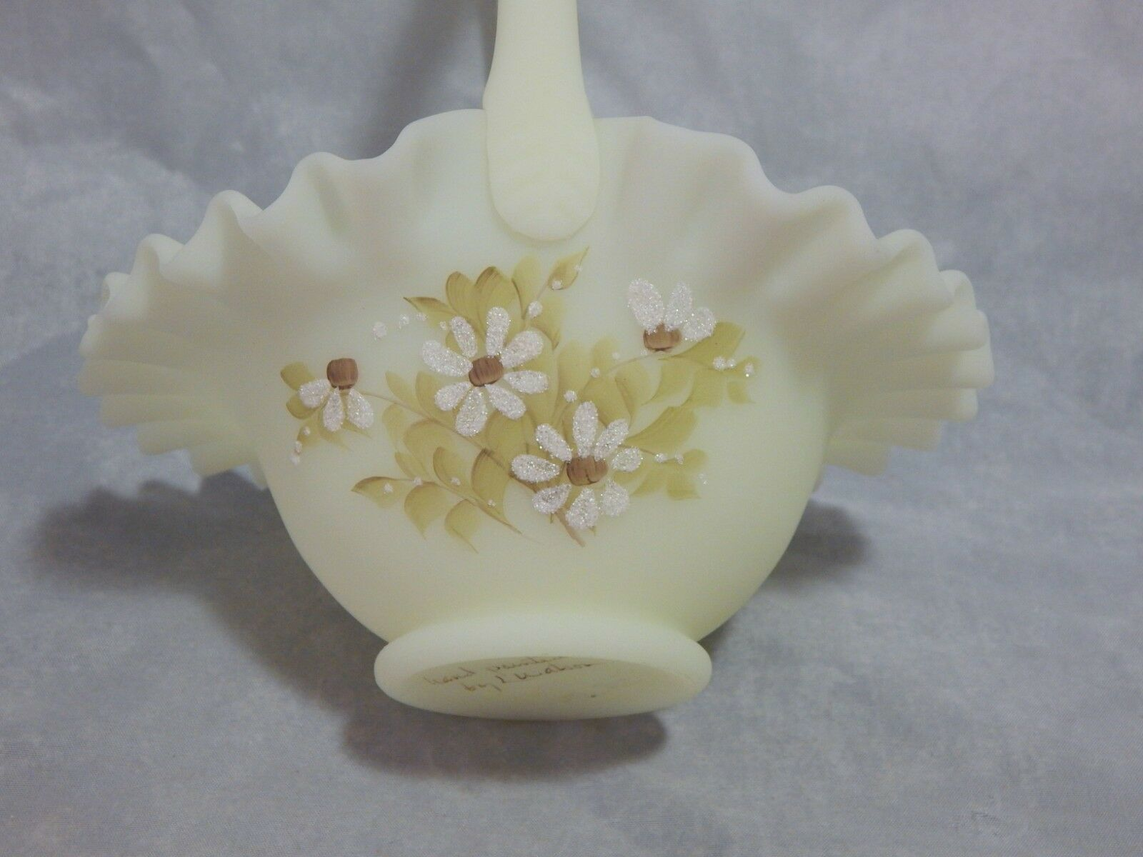 Fenton Glass Yellow Satin Hand Painted Basket