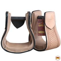 Horse Western Saddle Stirrup Tan Leather Covered Stirrups Pair Hilason U-T101 - $64.30