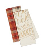 Eat Drink And Be Thankful Dish Towels Set of 2 New Cotton Kitchen Tea To... - $19.79