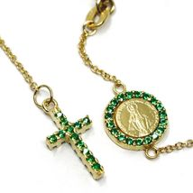 18K YELLOW GOLD ROSARY BRACELET, FACETED EMERALD ROOT, CROSS, MIRACULOUS MEDAL image 3