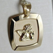 18K YELLOW GOLD SQUARE PENDANT MEDAL CUSTODIAN ANGEL ENGRAVABLE, MADE IN ITALY image 1